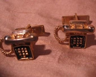 Cufflink Pair, 3 dimensional Push Button Telephone Rugin 1961