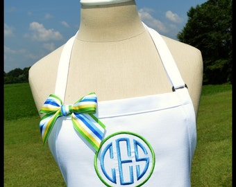 Circle Monogrammed Personalized Apron - Personalized Chefs Gift Idea Ribbon Bakers Womens Wedding Bridal Shower Custom 2 Two Colors