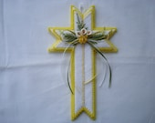 Cross Handmade with Plastic Canvas and White and Yellow Yarn with Flowers and Bows