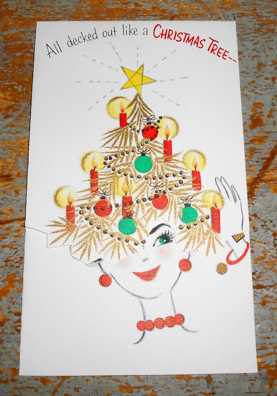 vintage cards christmas lady christmas tree hallmark