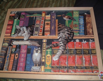 Bookcase Cat Painting