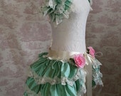 Silk  Bustle Skirt  and shrug SET Fae Mint Lolita Victorian   By Ophelias Folly