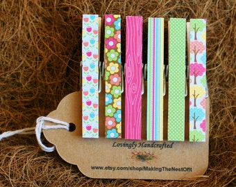 Spring Clothespins, Pink Green Yellow, Set of 6