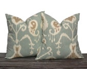 """22"""" Seafoam Ikat Pillow Set - Set of 22 x 22 Inch Neutral Pillow Covers - Seafoam Cream and Brown - TWO PILLOW COVERS"""