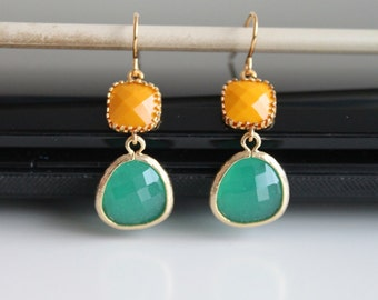 Tangerine fresh green crystal earrings, green and blue opal glass earrings,  long dangle earrings, bridesmaid gifts. Wedding jewelry.