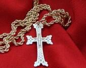 Armenian Beautiful Small Yellow Pure Gold 14 K Cross with Chain Hand Made  Christian  Pendant Echmiadzin Armenia Armenian