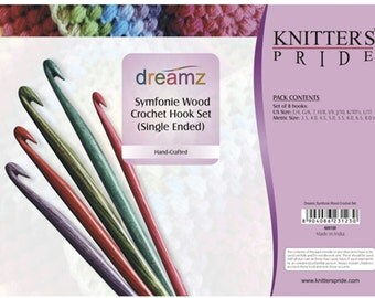 Knitters Pride Dreamz Symfonie Wood Crochet Hook Set of 8 Crochet Hooks with Case
