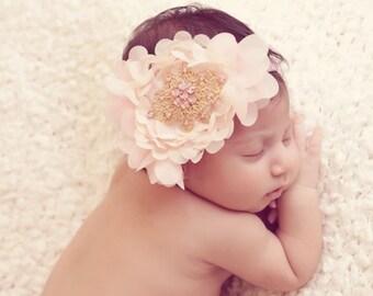 Newborn headband with Swarovski Rhinestones, Baby girl, girls, flower girls, christening, soft stretch elastic band, Perfect for photography