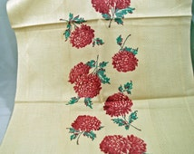Vintage KITCHEN towel - Cottage Chic - Cotton  - Floral Kitchen Towel - Never Used - Beautiful Flowers - Beautiful Colors