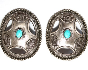1970s Turquoise Silver Graziano Clip Earrings