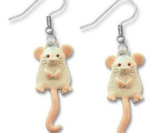 Enamel Hand Painted Mouse Earrings