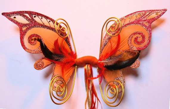 orange and red fairy wings by fairyloveboutique on Etsy