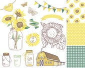 Sunflowers, Mason Jars and digital papers - Clip art for scrapbooking, barn wedding invitations, Rustic farm, Southern, Small Commercial Use