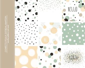 9 Confetti Polka Dot Digital Scrapbook Paper pack, Datamation, geometric pattern, pastel colors, spots, Bokeh, Wedding, Small Commercial use