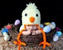 Crochet Chicken hat.Yellow chicken hat