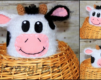 Crochet Cow hat.Made to order.Size:Newborn to 1y.old