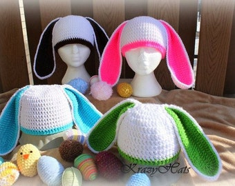 Crochet bunny hat with long ears.Made to order