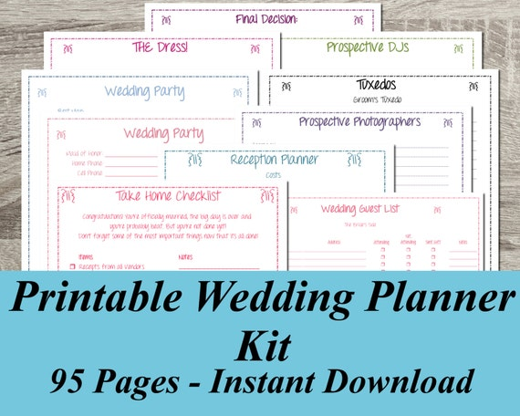 Printable Wedding Planner Binder Planning A Rustic: Printable Wedding Planner INSTANT DOWNLOAD Ultimate Wedding