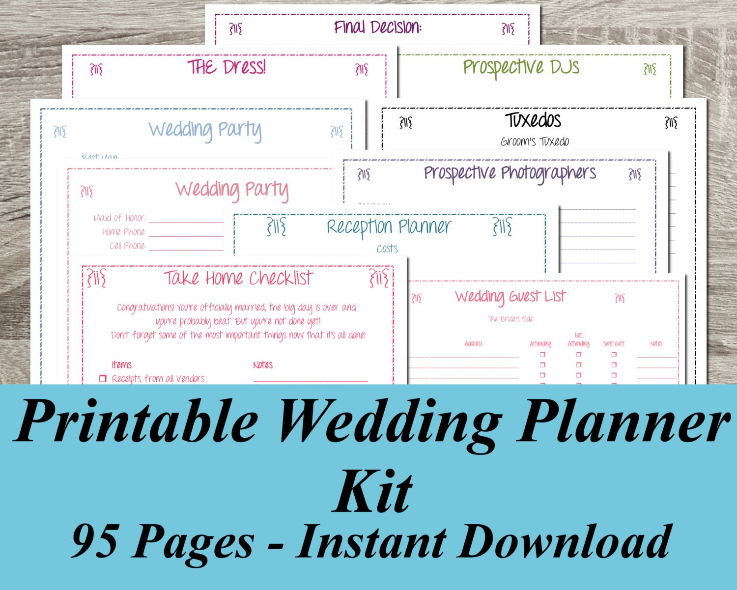 Printable wedding planner instant download ultimate wedding for Wedding table organizer