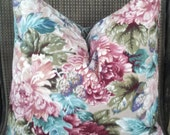 Two Large Floral Print Pillow Covers. 22 x 22. Burgundy. Mauve. Teal. Olive Green. Vintage. Free Shipping
