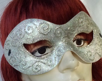 Mask Mardi Gra Venetian Masquerade Carnevale Renaissance Halloween Fairy Theatre FAERY Bride Wedding Cosplay Whimsy OOAK Venice Pixie Silver