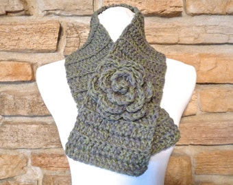 Womans gray and green chunky crochet scarf with detachable flower pin