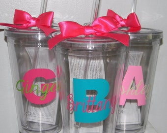 Bridesmaids Cups- Bridesmaid Gifts - Monogrammed Bridesmaid Gift - 6 Bridesmaids - Wedding Party Favors - Bridal Shower Favors