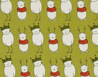 Santa Claus Is Coming To Town on Green - Fabric By The half  Yard 18 inches x 42 inches
