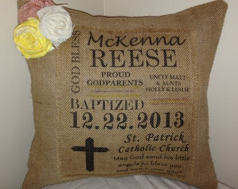 Burlap Baptism Pillow