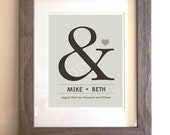 Custom Wedding or Anniversary Gift - Wall Art - Home Decor - Personalized Wedding Sign - Special Date - Ampersand