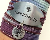 Happiness Silk Wrap Bracelet Yoga Jewelry Tree Friendship Teacher Unique Gift For Her Mother Daughter Stocking Stuffer Under 50 Item K83