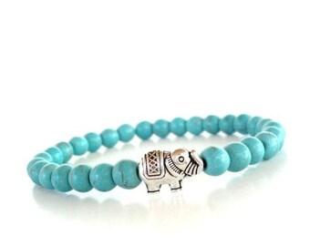 Sacred Elephant Healing Mala Bracelet, Yoga Jewelry, Turquoise, Wisdom, Bracelet, Wrist Mala, Birthday Gift Item S61