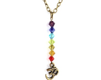 Om Necklace  7 Chakra Yoga Jewelry Talisman Meditation Colorful Unique Aum Ohm Spiritual Healing Recovery Gift For Her Under 30 Item A72