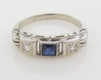 18k IOLITE & DIAMOND RING -  Fully Hallmarked Solid White Gold - Art Deco - Natural Gemstones