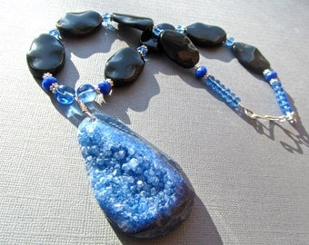 Chunky Statement Necklace, Druzy Necklace, Huge Blue Agate Druzy Pendant, Black Onyx, Big and Bold  436