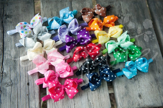Ema Jane Set of 18 LARGE and FULL Cute Polkadot Grosgrain Bows Glued to Soft Stretchy Headbands