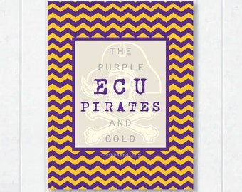 ECU Pirates . The Purple and Gold with Pirate and Chevron