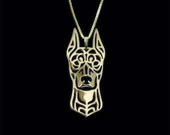 German Pinscher (cropped ears) - Gold pendant and necklace.