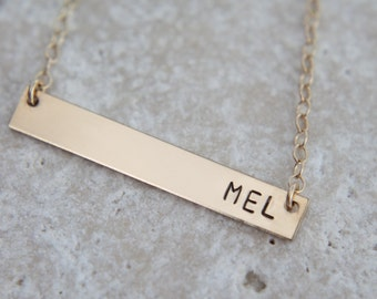 Gold Bar Necklace, 32x5mm, Name Bar Necklace, Nameplate Necklace, Gold Initial Necklace, Personalized Gold Bar Necklace, Bar Necklace