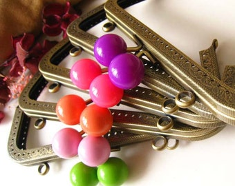 18 cm Antique Brass Bronze Rectangular Sewing Purse Frame with Color Bead Ball Clasp Clip - Set of 5pcs (Green,Light Pink,Coral,Pink,Violet)