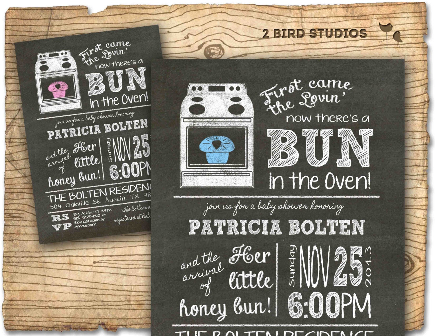 Baby Shower Invitation Boy Girl Bun In The Oven Baby Shower