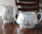 Vintage Lefton sugar bowl and creamer Gold Wheat pattern