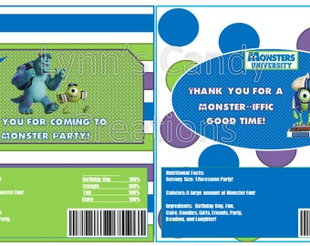 Monsters University Candy Bar Wrappers PDF/DIY Instant ...