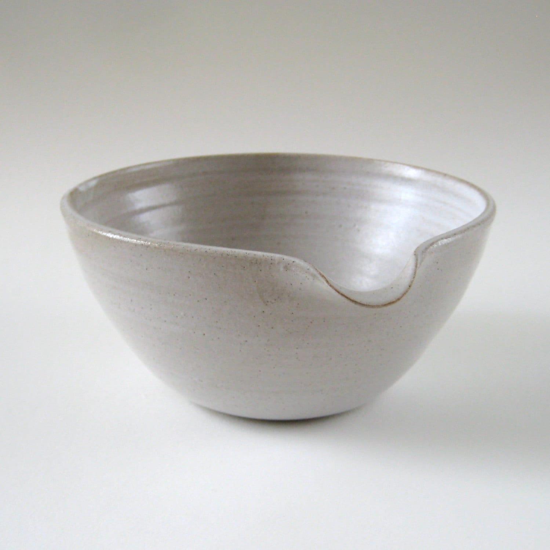 Pouring Bowl White Stoneware Mixing Bowl By Judeallman On Etsy
