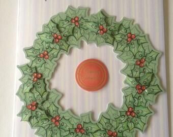 christmas card, wreath card, decoupage card, merry christmas card