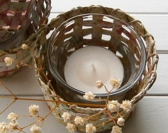Hand Woven Paper Mini Basket with Glass Votive Holder - Patterned Paper with Hemp Twining