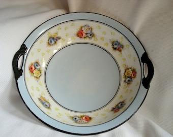 Vintage Bowl Noritake Handpainted Morimura Nippon Blue and White Floral Bowl Vintage