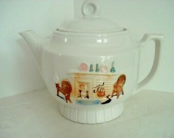 Vintage Teapot Porcelier Large White Tea Pot Hearth Scene Pastel Colors Vintage