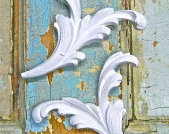 Shabby Chic Floral Architectural Appliques (set of 2)