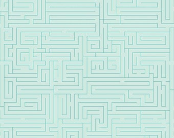 Mazes in Aqua from Fun and Games for Riley Blake